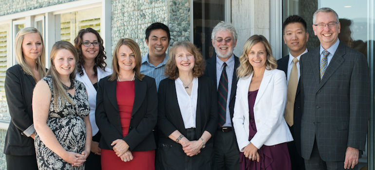 2012 President's Staff Award recipients (l-r): Erin Biddlecombe, Cate Morrison, Shannon Sterling, Jenny Reilly, Martin Dee, Dr. Ruth Warick, Andrew Collins, Jennifer Bendl, Jae Lee, and Prof. Stephen Toope. Photo by Don Erhardt.