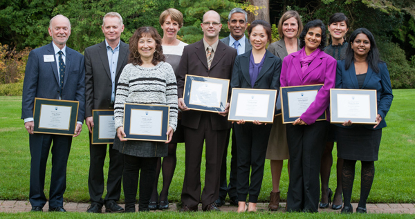 (l-r): Doug Polson, Lowell McPhail, Sandy Lapsky, Ann Campbell, Erick James, Arvind Gupta (UBC President), Diana Leung, Shannon Piedt, Farah Rabjabali, Samantha Turner, Devni De Silva. Not pictured: Carola Hibsch-Jetter, Aybaniz Ibrahimova, Andy Johnson, Stacey Simpson, Kate Turcotte.